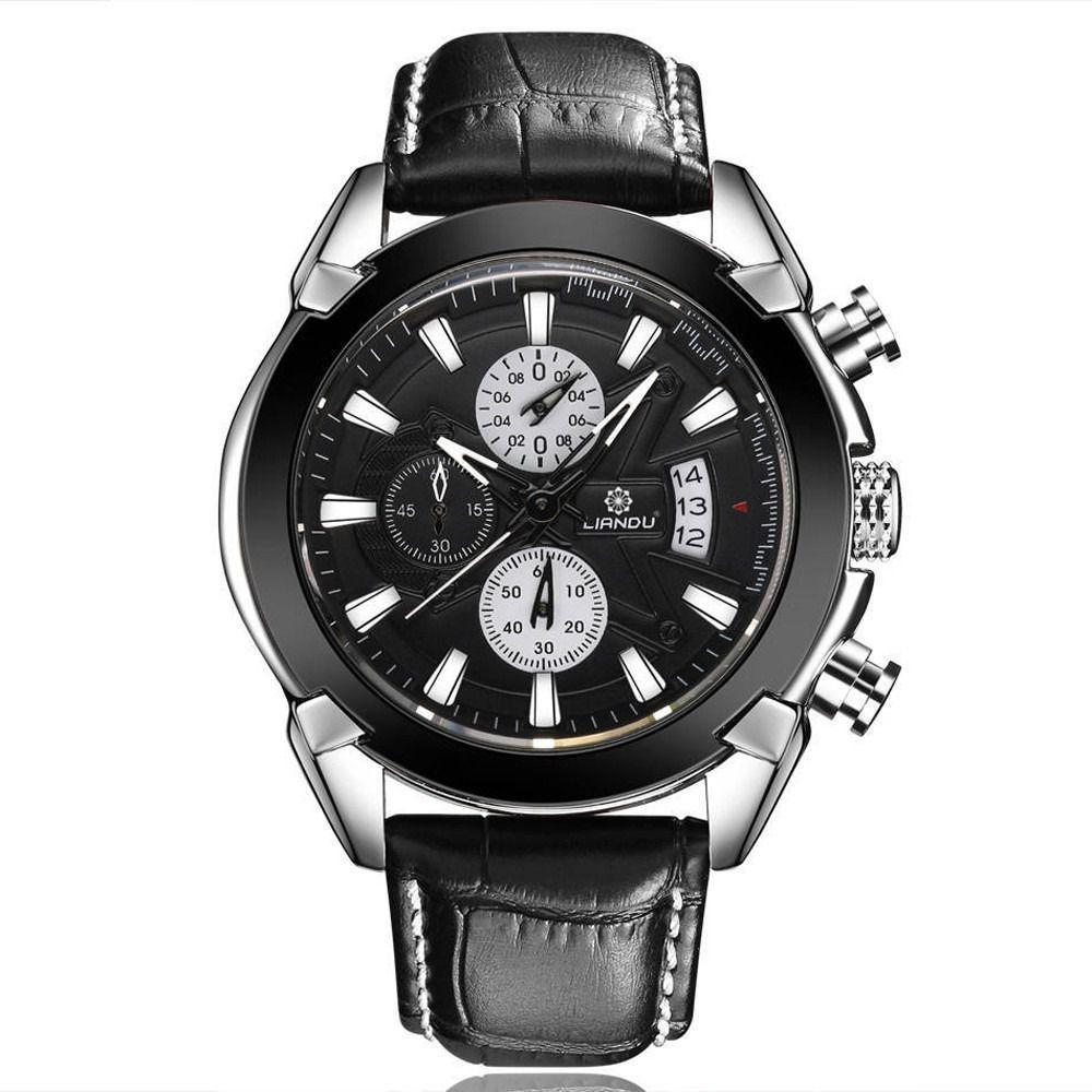 b2b2561f417 ... Relógio Liandu Original De Luxo Couro E Com Cronógrafo - Miranda  Shopping