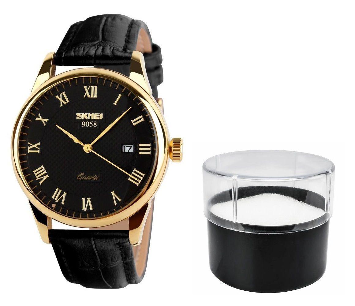 a1cbe3cd839 Relógio Masculino Skmei De Luxo Pulseira Couro Modelo 9058 - Miranda  Shopping ...