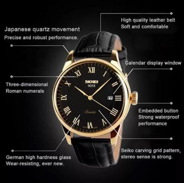 c9a6159c55c ... Relógio Masculino Skmei De Luxo Pulseira Couro Modelo 9058 - Miranda  Shopping ...