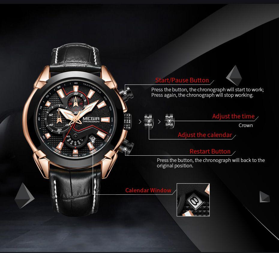 cd31700e169 ... Relógio Megir 2065 Com Cronógrafo Luxo - Miranda Shopping ...