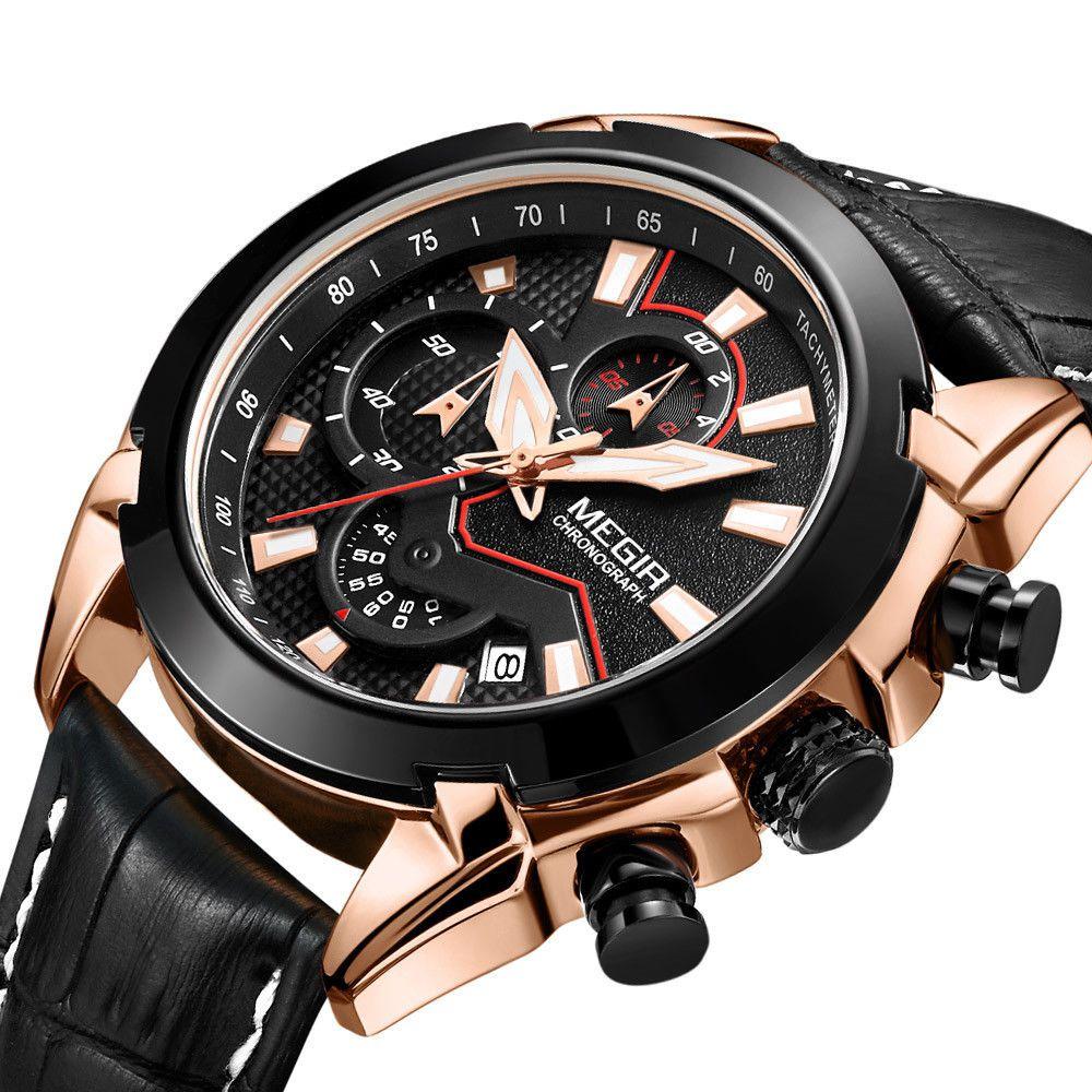 94ab49e10a7 Relógio Megir 2065 Com Cronógrafo Luxo - Miranda Shopping ...