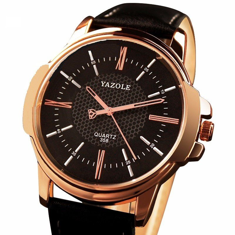 1adee2d3c3b Relógio de Pulso Dourado Quartzo Yazole 358 Pulseira em Couro - Miranda  Shopping
