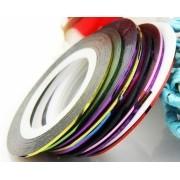 Fita metalizada decoração unhas cor sortida