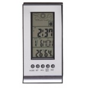 Higrômetro prata Digital Medidor de Umidade, Temperatura e Relógio