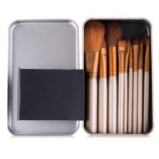 Kit 12 pinceis maquiagem Case Metal