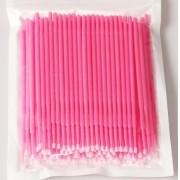 Refil Kit 100 escovas microfibra tam M (rosa) para remoção cilios