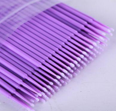 Kit 100 Escovas de Microfibra P para Remoção de Cílios (Roxo)