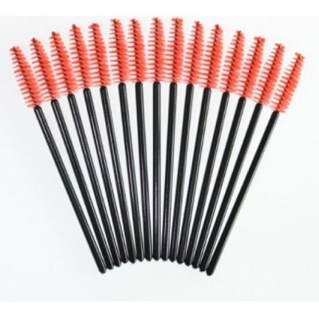 Kit com 25 Bastões escovinha vermelho para pentear cílios e sobrancelhas
