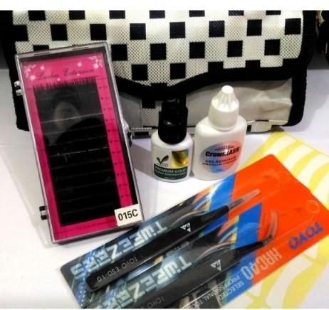 Kit Para Alongamento De Cílios Fio A Fio com Necessaire preta e branca (cola vivi)