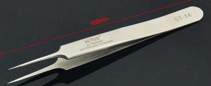 Pinça Reta Inox de Precisão Vetus para Alongamento de Cílios TS-14