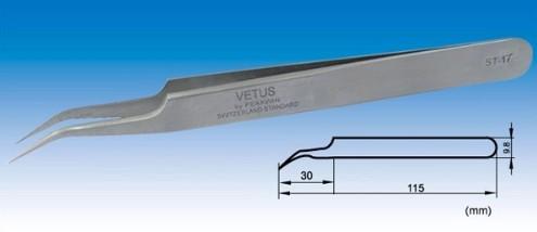 Pinça Curva Inox de Precisão Vetus para Alongamento de Cílios TS-17