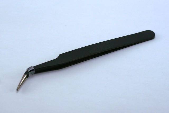 Pinça curva preta para Alongamento Cílios