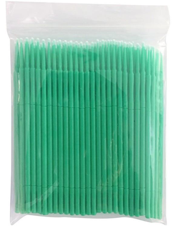 Refil Kit 100 escovas microfibra tam M (verde) para remoção cilios
