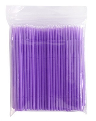 Refil Kit 100 escovas microfibra tam P (roxo) para remoção cilios