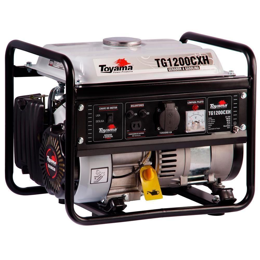 Gerador de Energia à Gasolina 0,9 KVA 2,3 HP Monofásico 4 Tempos TG1200CXH Toyama