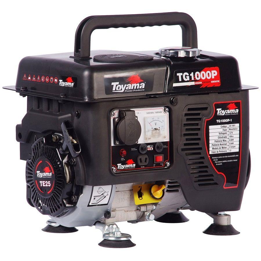 Gerador de Energia à Gasolina 1 KVA 2,4 HP Monofásico 4 tempos TG1000P Toyama