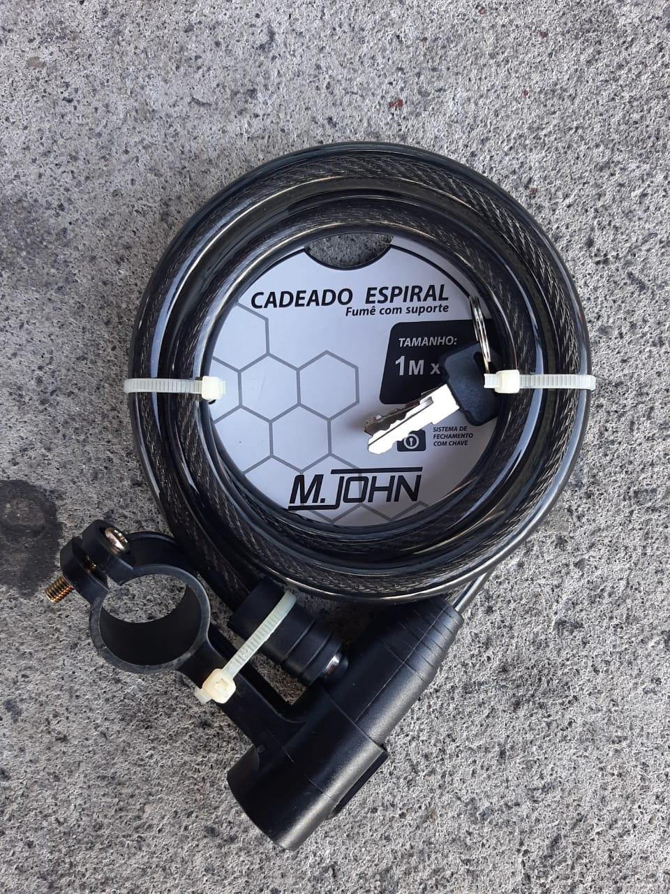 Cadeado Espiral Fumê Chaves Cabo Aço 1mt x 12mm Bike Moto
