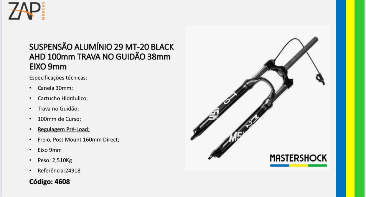 Garfo Suspensão Aro 29 Mastershock Mt-20 Black 9MM