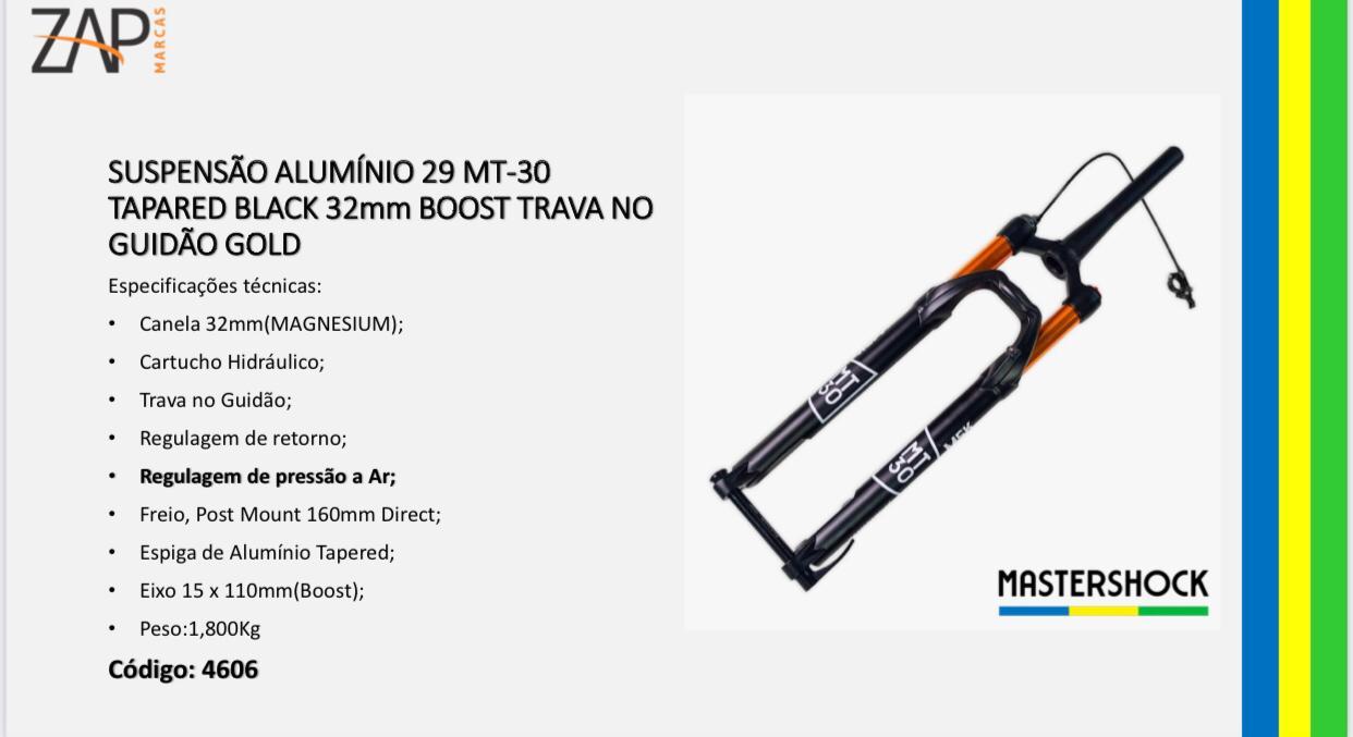 Garfo Suspensão Aro 29 Mastershock Mt-30 Black Gold 15MM Boost