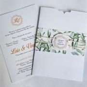 Convite Casamento luva com faixa estampada