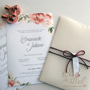 Convite Casamento papel vegetal Terracota