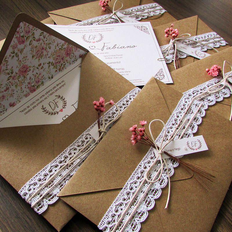 Convite de Casamento rústico Algodão