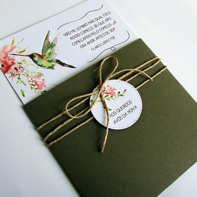 Convite Casamento Beija-flor verde