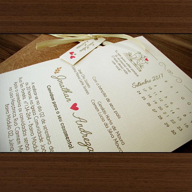 Convite Casamento Calendário