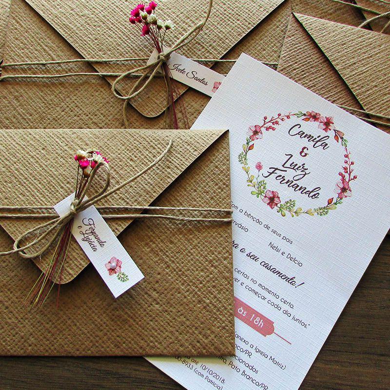 Convite de Casamento rústico Camila