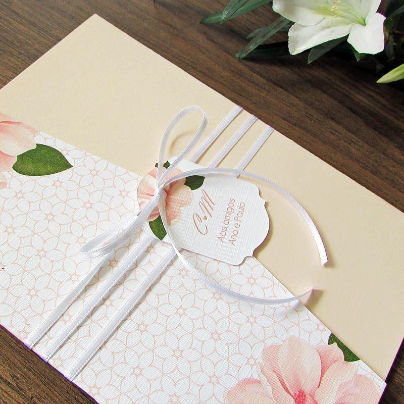 Convite Casamento Carteira Pêssego