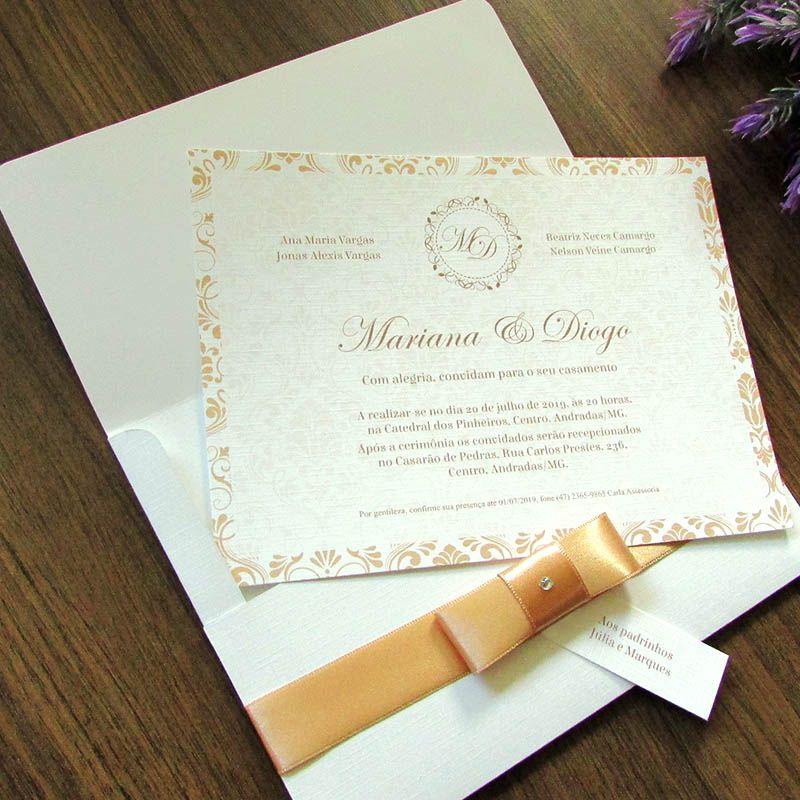 Convite Casamento Clássico Arabescos