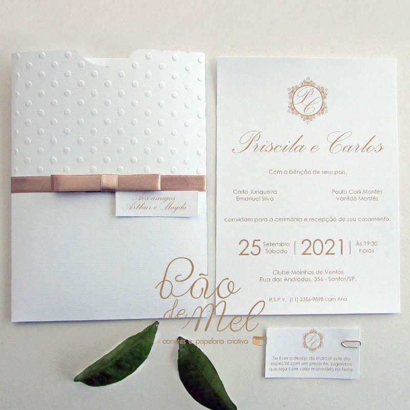 Convite Casamento Clássico Poá