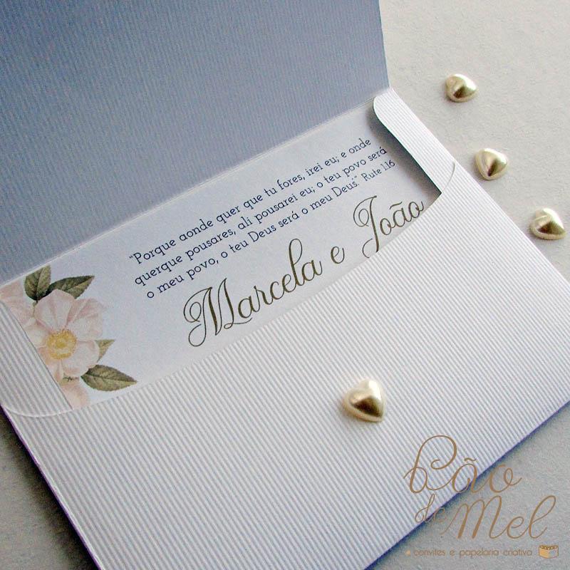 Convite Casamento coração de pérola