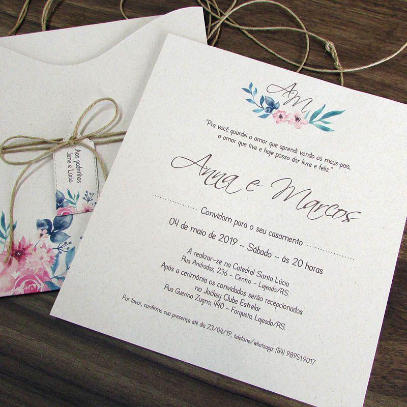 Convite Casamento Florido