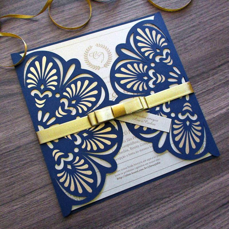 Convite Casamento Gold Marinho