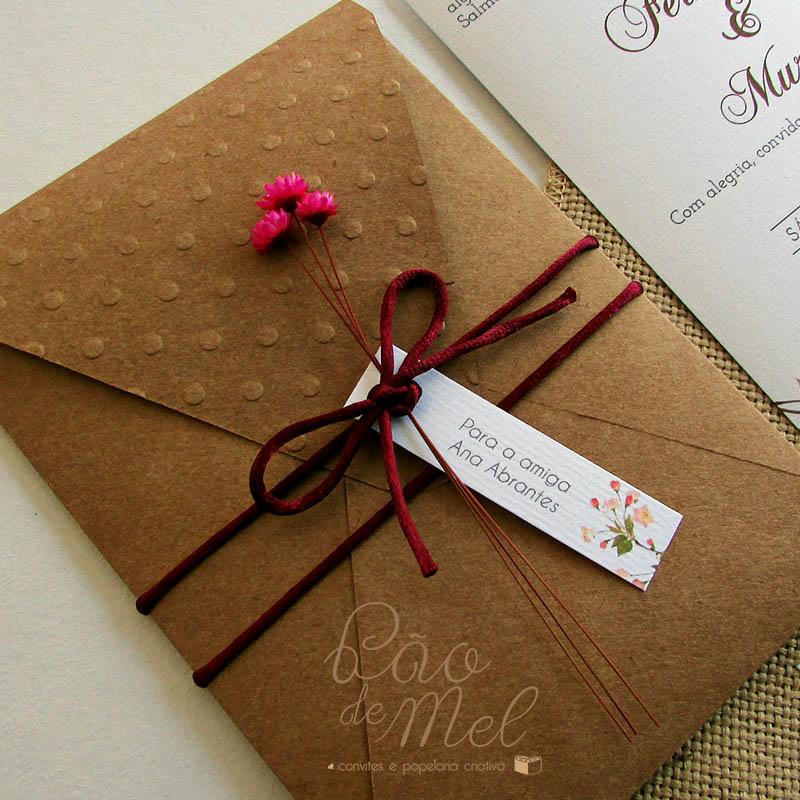 Convite Casamento Kraft Marsala