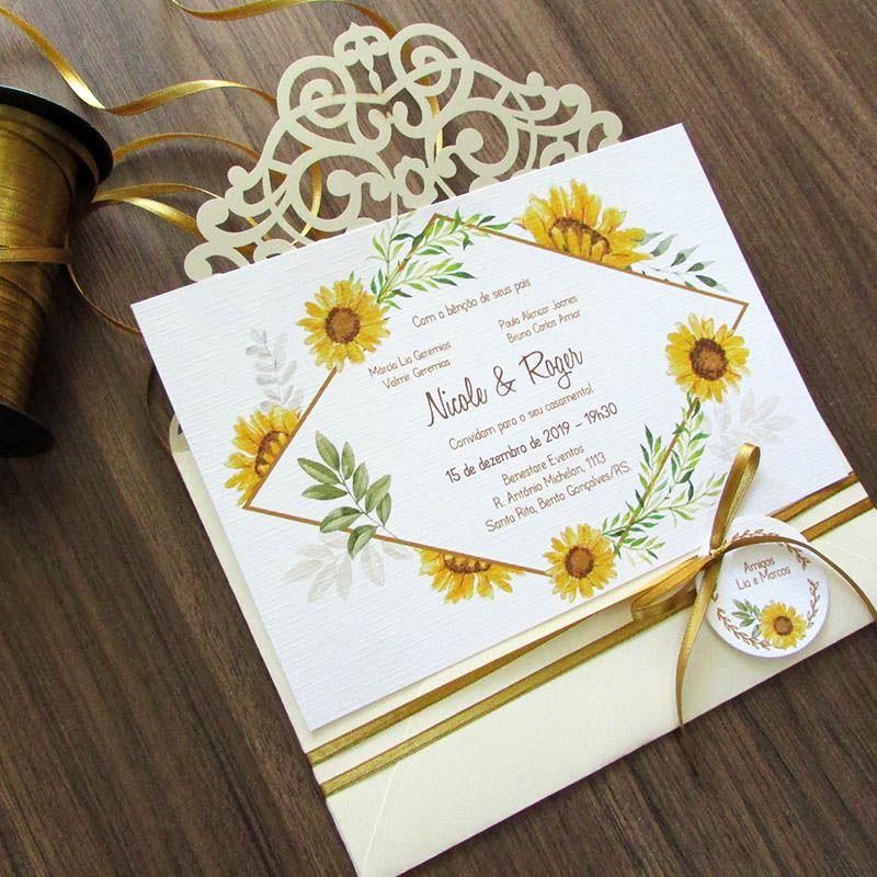 Convite Casamento laser Girassóis