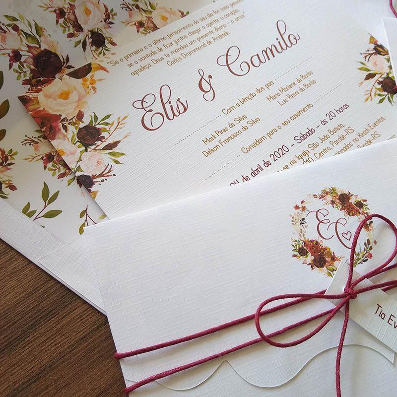 Convite Casamento Marsala