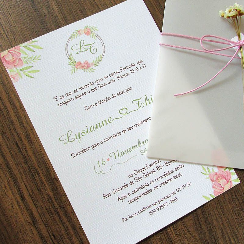 Convite Casamento Papel vegetal