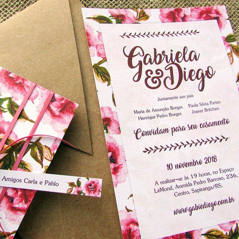Convite Casamento Peônias