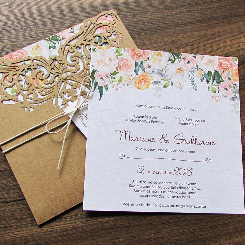 Convite Casamento rendado aquarelado