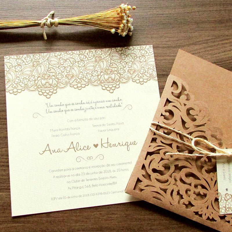 Convite Casamento rendado laser