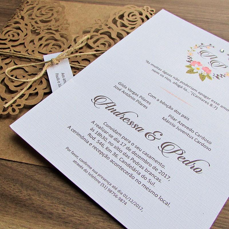 Convite Casamento Laser Romance