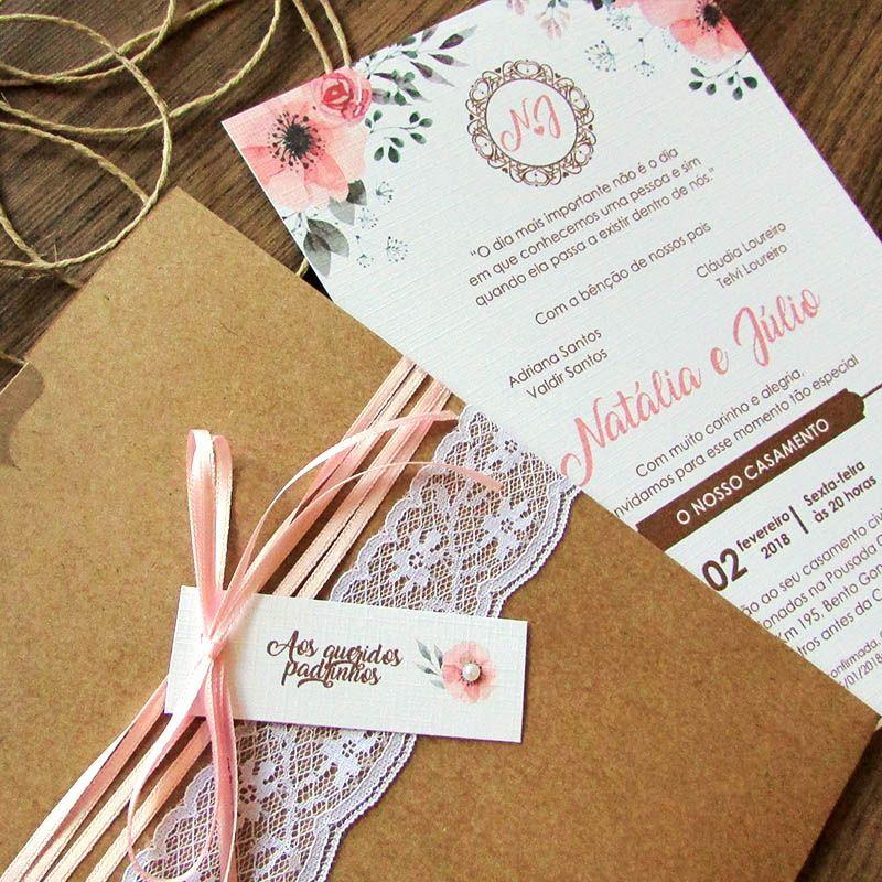 Convite Casamento rosa romântico