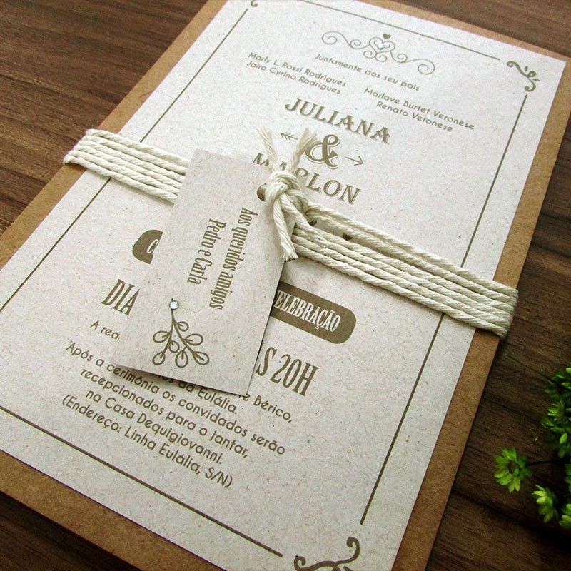 Convite Casamento Rústico moderno