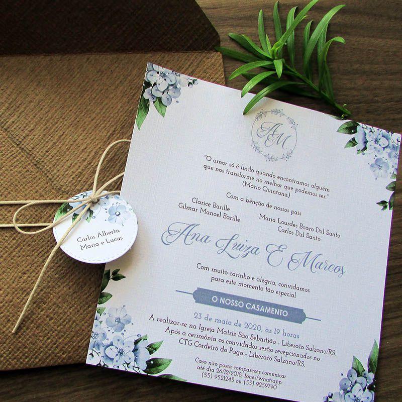 Convite de Casamento rústico Serenity