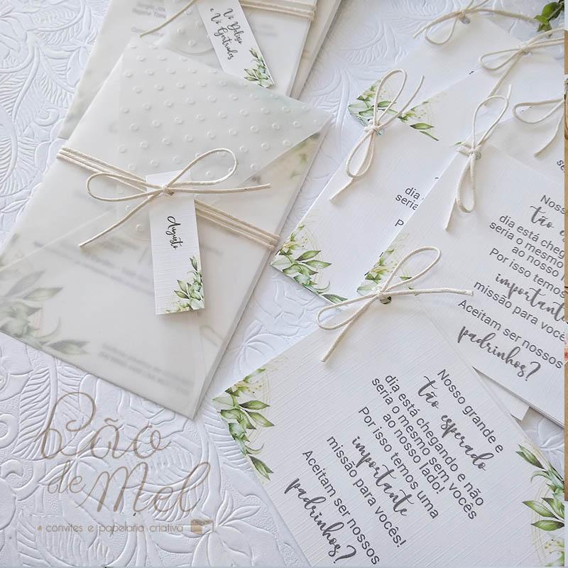 Convite Casamento translúcido Poá