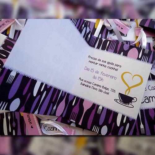 Convite chá de panela Xícaras