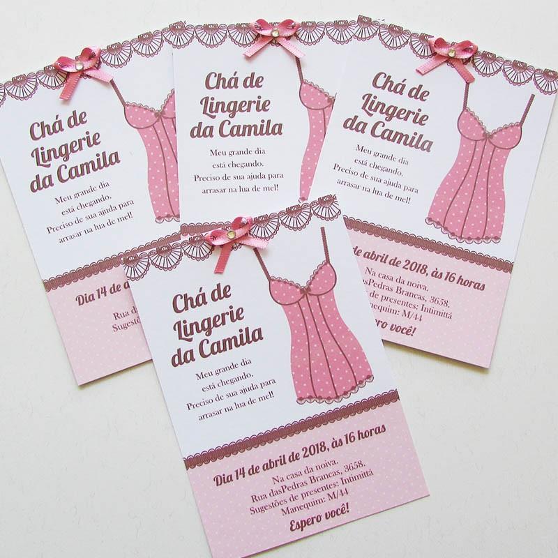 Convite chá lingerie Rosinha - 10 un