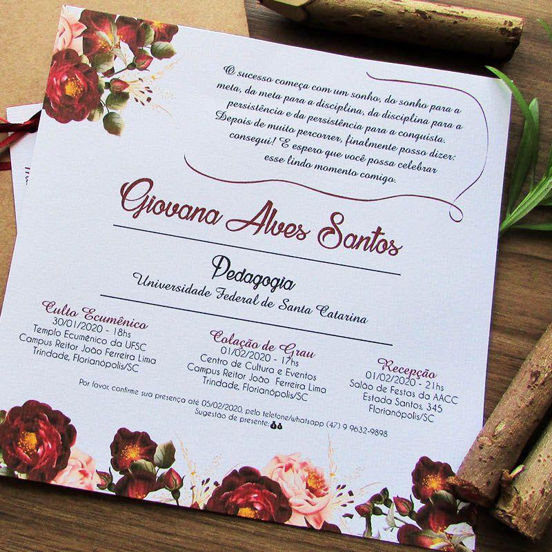 Convite Formatura Bordô